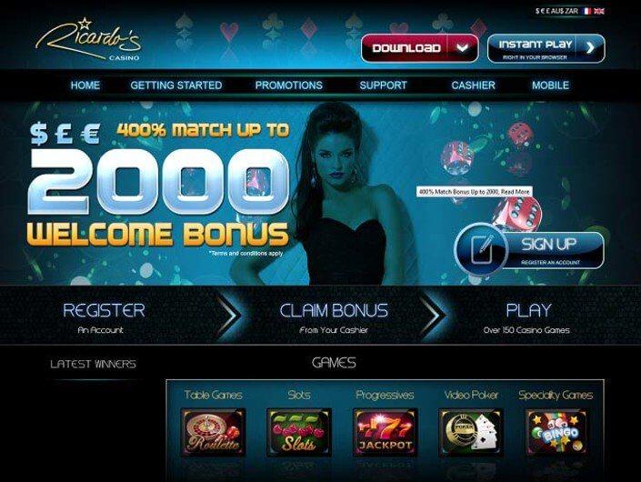 Ricardo's online casino main page